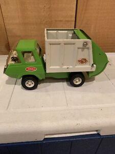 "Tonka ""Litter Bug"" Garbage Trash Truck Green White Vintage 1970's Small 10"" x 4"""