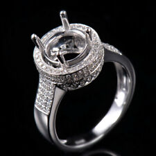 Luxury Natural Diamond Semi Mount Ring Setting Round 8.0mm Solid 14K White Gold