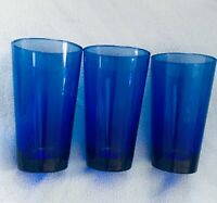 """3 VINTAGE ANCHOR HOCKING COBALT BLUE 5-3/4"""" DRINKING GLASSES TUMBLERS 16 Oz"""