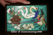 "3.4"" Old China Wood Inlay Shell Jade Dynasty Flower Phoenix jewelry Box cabinet"