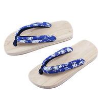 Unisexe Japonais Geta en Bois Floral Sandales Chaussons Chaussures Taille 35-44