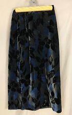 Hauber Velvet Skirt, Black & Blue & Silver highlights, vintage 80's, Xs