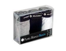 Pack 3 Boxer PUNTO BLANCO BASIX Algodón elástico BLANCO + GRIS + NEGRO Mod 53438