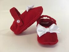 Red Corduroy Baby Girl Shoes | Infant Size | Bow Christmas Shoes
