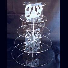 CINQUE Tier tacco alto e disegno del cuore rotondo base torta - TRASPARENTE