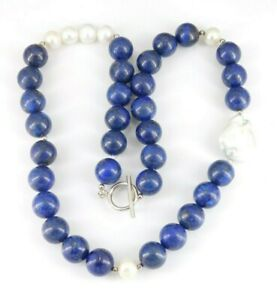 """925 Sterling Silver Lapis & Pearl Necklace 20.5"""" Long"""