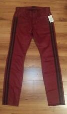 NWT $128 Guess Men's Fitted Red Semi Stretch Black Striped Jeans Size 30