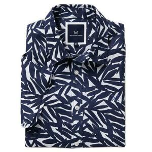 Crew Clothing Linen Inky Leaf Shirt - Navy/White - RRP £49