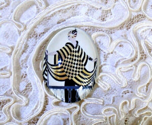 Erte' Fashion Lady 30X40mm Glitter Unset Handmade Glass Art Bubble Cameo Cab