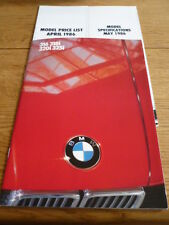BMW 3 SERIES SALOON BROCHURE 1985 86 PLUS PRICES AND SPEC jm