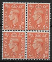 SG488Wi. 2d.Pale Orange Wmk.Inv. Block of 4. Lower Pair Very Fine UM.  Ref:0329