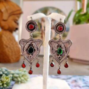 Sterling Silver 925 Boho Vintage Bird Green & Red Stone Teardrop Hook Earrings