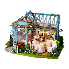 Miniature DIY Dollhouse Kit Tea House with Furniture, LED Light Crafts Gift