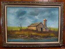 Oil Painting listed artist Everett Woodson Independence Missouri landscape barn#