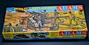 "ADAMS Snap plastics model kit  ""105 MM Gun Emplacement"" WWII Army 1958 Vintage"