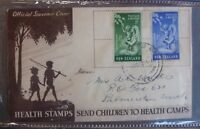 1949 NEW ZEALAND CHILDRENS HEALTH  CAMPS SET OF 2 STAMPS FDC FIRST DAY COVER