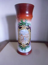 Vase en opaline peinte et emaillée  décor bord de mer , plage