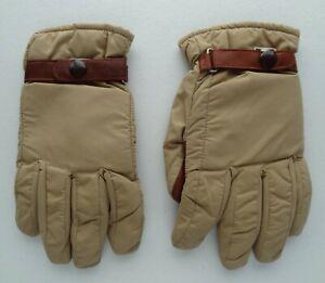 L.L. Bean Ladies S VTG Thermolite Winter Gloves Palm Snap Wrist Strap Tan Brown