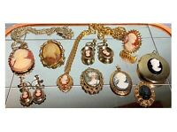 Cameo Jewelry Victorian Gold Costume Earrings Necklace Brooch Ring Vintage Lot