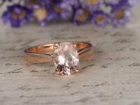 1ct Oval Cut Peach Morganite Engagement Ring 14k RoseGold Finish Solitaire Women