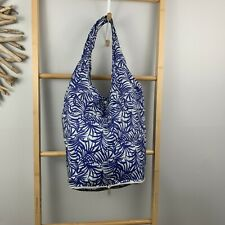 Reusable Shopping Bag Blue Tropical Palm Print Foldable Zip Up Eco Tote Grocerie