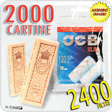 2400 FILTRI OCB SLIM 6mm 20 BUSTINE + 2000 Cartine BRAVO REX BIANCHE CORTE