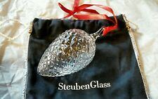 STEUBEN Glass PINE CONE Crystal Christmas Ornament Rare New in Box Crystal