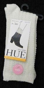 F109 Hue Sangria Red, Black or Ivory Women's Super-Soft Ribbed Ankle Boot Socks