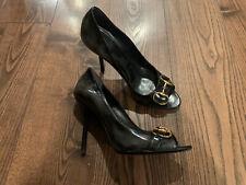 Gucci Horsebit Black Leather Peep Open Toe Pumps heels Shoes SZ US 9 Faded