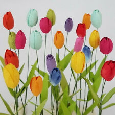 50 Paper Flower Tulips Scrapbook Cards Toppers Doll Art Craft Supply TU1-427