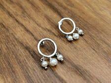 925 Sterling Silver,Rose Gold Plated,Hoop Tassel Pearl Earrings,Xmas Gift