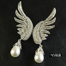 Costume Fashion Earrings Stud Wings Silver White Pearl Drop Vintage Gift