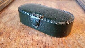 1900 EDWARDIAN FINE GREEN MOROCCO LEATHER TIE PIN & CUFFLINK BOX / CASE DISPLAY
