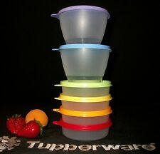 Tupperware NEW 4 Little Wonder 2 Refrigerator Bowls RAINBOW ~Lunch Snack ~NOS