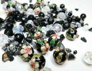 Mix Lot Glass Beads For Bracelet Jewelry Making  BLACK Mix Lot Size Shape 180 pc