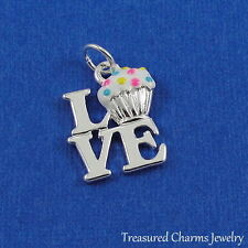 "Silver Enameled ""LOVE"" Vanilla Cupcakes CHARM PENDANT"