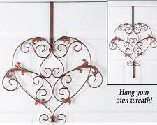 Wreath Door Hanger Metal Heart Year Round Copper Scroll Work Home Decor