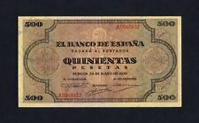 F.C. 500 PESETAS 1938 , SERIE A , EBC , (3) DOBLECES VERTICALES NO MUY MARCADO
