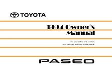 1994 Toyota Paseo Owners Manual User Guide Reference Operator Book