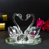 Large Twin Double Swans Decorative Crystal Animal Gift Present Model Valentines