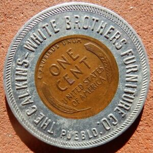 PUEBLO Colorado ENCASED 1920 Cent 🔅 Caulkins-White Brothers FURNITURE Co.