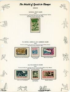 MEXICO--Lot of 7 different stamps mounted on pages in hingless mounts