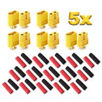 10 Stück (5 Paar) XT60 Nylon ESC Lipo Akku Stecker Buchse + Schrumpfschlauch 60A