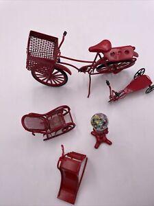 Vtg Lot of 5 Red Metal Mini Dollhouse Furniture  Bicycle Gum Ball Slide
