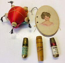 Lot vintage sewing items pin cushion needle case sewing kits thimbles