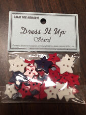 Jesse James Buttons - Dress It Up ~ Star Spangled 4541 ~ Tiny Red, White & Blue