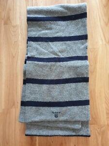 GANT Grey & Blue 100% Lambswool Striped Scarf