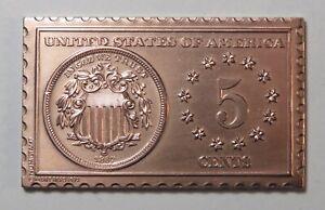 1867 United States 5 Cents Shield Nickel Numistamp Medal 1972 Mort Reed