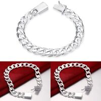 925 Solid Sterling Silver Square Agraffe Men's Cuban Curb Link Chain Bracelet