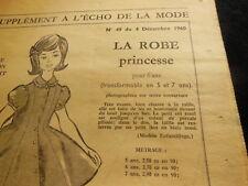 ancien PATRON echo de la mode 1960  robe princesse fillette taille 6 ans  5 et 7